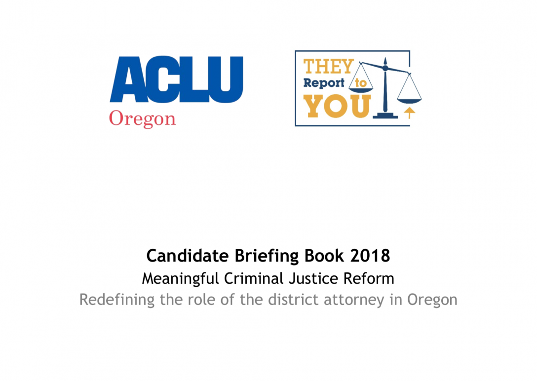 SHARING OUR DISTRICT ATTORNEY CANDIDATE BRIEFING BOOK
